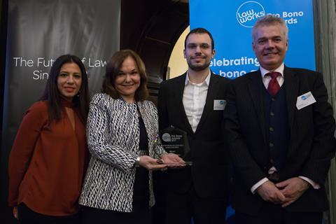 Best Contribution by a Firm with a London Head Office  Emine Mehmet, Marios Kontos and David Head, Duncan Lewis Solicitors, receiving the award from Hilarie Bass (President, American Bar Association)
